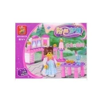 益智玩具 小魯班積木M38~B0238粉色夢想~公主小房間