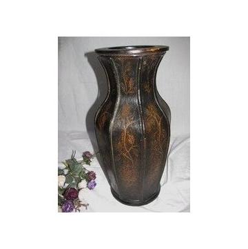 美克美家风格 木制古花瓶 复古木花樽