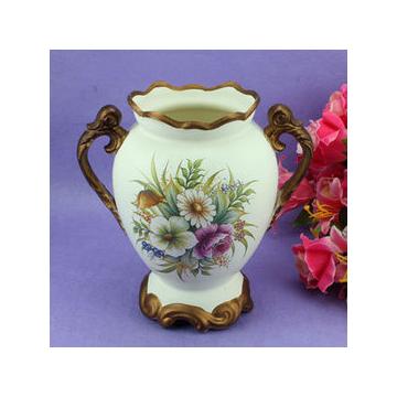 欧式田园陶瓷彩绘双耳冰裂纹花瓶 花壶 新家装饰 家居饰品摆件