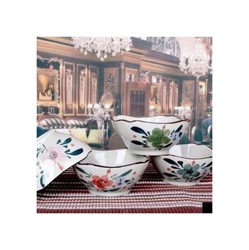 景德鎮陶瓷碗日式和風手繪碗釉下彩4角碗米飯碗方碗