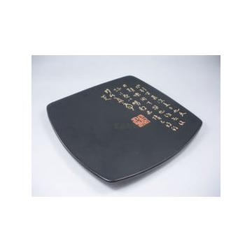 盤子 陶瓷 餐具 日式 托盤 黑色菜盤 圓角方盤