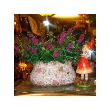古冰裂纹做旧粉彩印花卉装饰粗陶花瓶/椭圆形花器