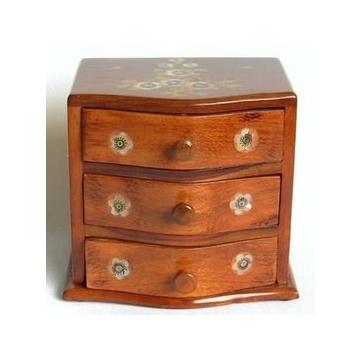 V百年老店~紅木雕刻 木制收納盒 三層抽屜首飾盒子 鑲貝花