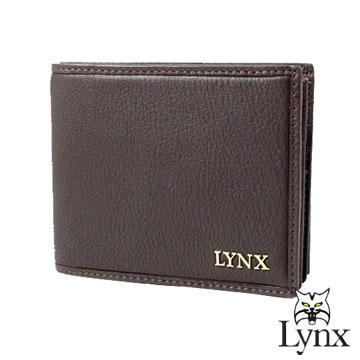 ~Lynx~ 山貓簡約沉穩 荔枝紋皮革 簡單型短夾^(兩色^)