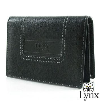 ~Lynx~ 山貓 款 都會風尚型男 品牌烙印羊皮名片卡夾