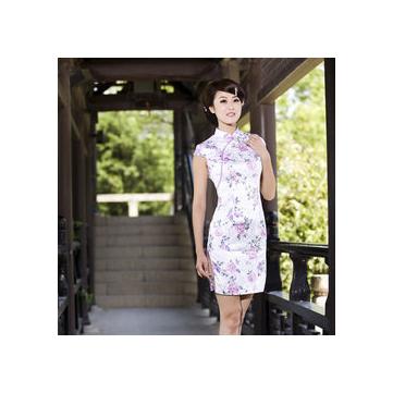 愛上舞旗袍 夏裝 蘭色碎花複古旗袍 改良 連衣裙