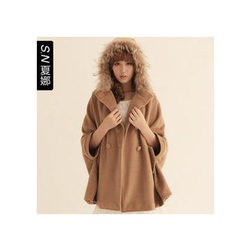 裝外套女裝 毛領鬥篷 羊絨毛呢大衣 女 披肩