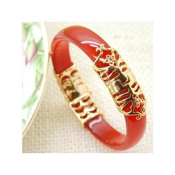 紅瑪瑙手鐲 鑲嵌鍍黃金手鐲 生日 富貴瑪瑙手鐲