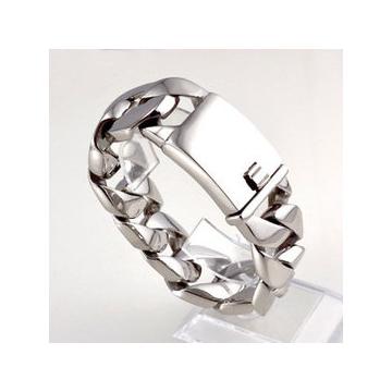 搖滾粗獷男士寬手鏈H40 鈦鋼不變色潮流簡約百搭手飾品