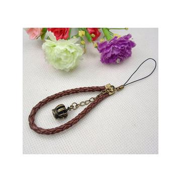 可愛 複古圓皮繩精美立體皇冠手機鏈 包包掛件
