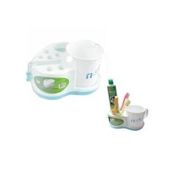 衛浴心形帶擠壓器牙具座漱口杯浴室用品套裝^(2個^)