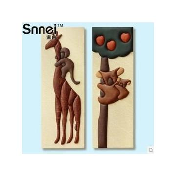 Snnei室內 考拉熊二聯皮畫 高檔客廳壁畫 無框裝飾畫 立體浮雕畫2件套