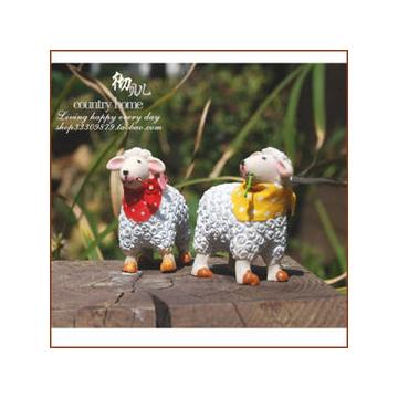 田園家居工藝品擺設卡通迷你小小羊多肉花盆裝飾品擺件 10入
