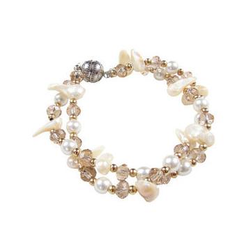 愛蔻意念奢華水晶多層珍珠手鏈女配飾品生日 韓式~78300004