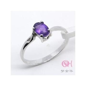 夢金華925純銀 天然紫水晶戒指 指環  女友 JZ0042w