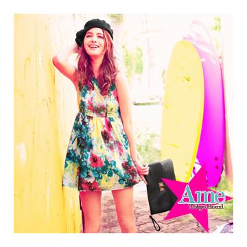 ~ Ame Tokyo Brand~VIVI雜誌款 暈染花朵春漾背心連身裙無袖洋裝^(共1