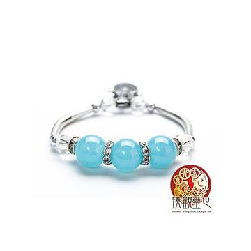 臻觀璽世~IS0365~~時來運轉藍色石頭手鍊~象徵愛與和平~開光~
