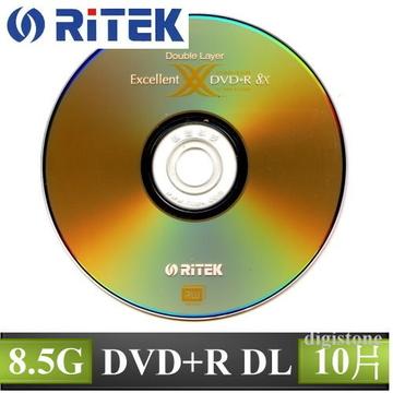 錸德 RiTEK DVD R 8X DL 8.5GB 單面雙層 光碟燒錄片 X10P布丁桶