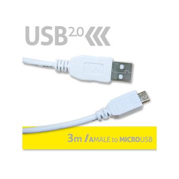 FunDigital USB2.0 傳輸線 ~ A公對MicroUSB 3M  白