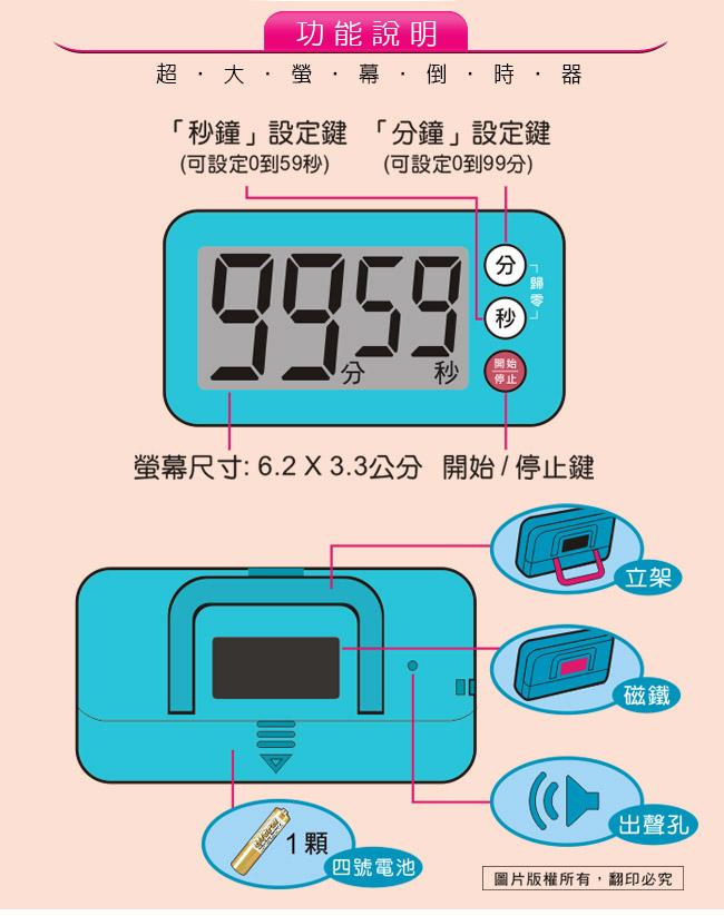 Dr.AV,聖岡科技,TM-7977,超大螢幕倒時器,計時器,超大聲,倒時器,24時,12小時,記憶,倒數器,正倒數器,超大螢幕,超大按鍵,99分59秒