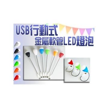 25CM USB 行動式金屬軟管LED燈泡 蛇管 檯燈 桌燈 工作燈 床頭燈 閱讀燈 筆電